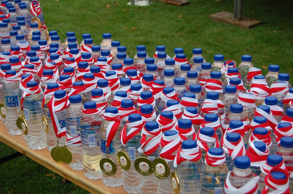 Medals and water bottles for runners